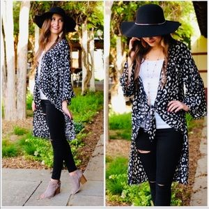 LAST ONE! Black and White Animal Print Cardigan